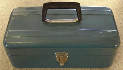 Vintage Metal Tool Box with Metal Tray with Handle
