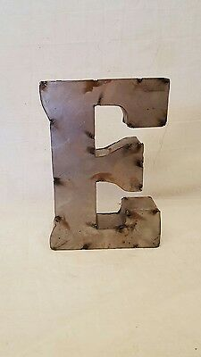 "12"" E Block Letter Vintage Marquee Recycled Metal Tin Industrial Salvage Rustic"