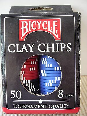 50 Bicycle Clay Chips, 8 Gram, Tournament Quality
