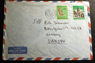 South-Africa 1973 cover to Sweden M-093