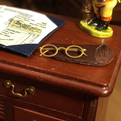12th Scale handmade dolls house miniature spectacles And Case