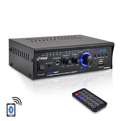 Pyle PCAU48BT 2 x 120W Bluetooth Stereo Power Amplifier USB/SD AUX & Remote