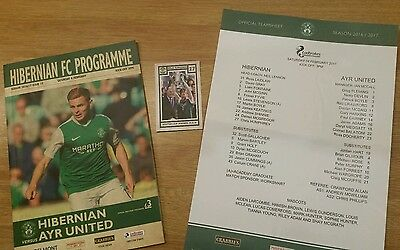 Hibs v Ayr United Programme, Team Sheet and Trading Card 4th February