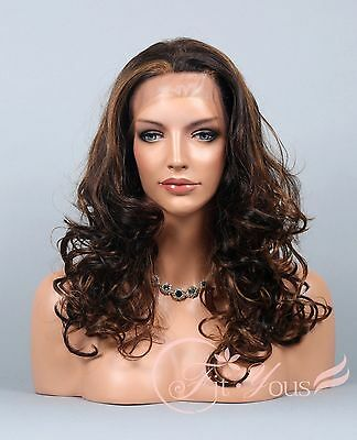 Lace Front wigs Curly Wavy Wigs for women Tone Brown/Blonde/Auburn Mix Long wigs