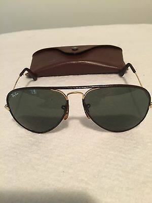 Vintage Ray Ban B&L Bauch and Lomb Aviator Leathers Brown 58□14 Sunglasses