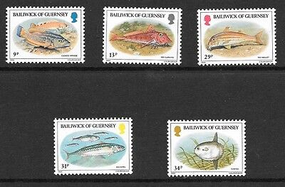 Guernsey 1985 Fishes Stamp Set Mh