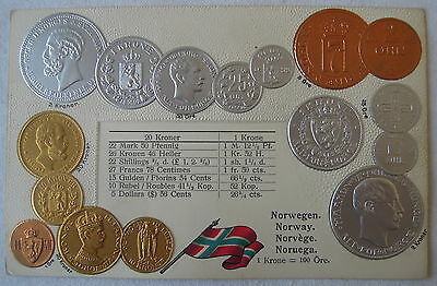 Embossed Coin Postcard Norway made in Germany