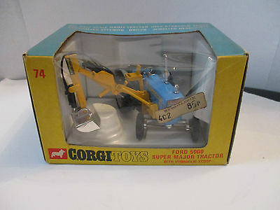 corgi 74 ford 5000 major tractor with scoop vintage boxed 1969