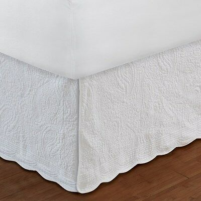 Greenland Home King Bedskirt White Paisley Quilted 18-inch Drop NEW