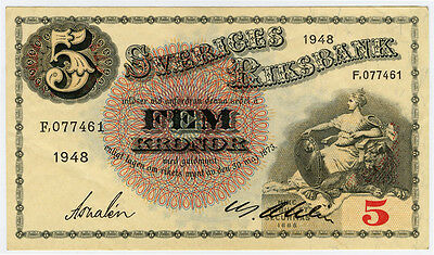 SWEDEN 1948 ISSUE 5 KRONOR NOTE XF-AU.PICK#33ae.