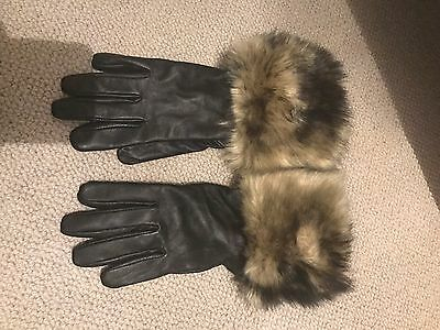 Leather And Faux Fur Gloves - Black