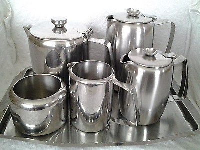 Vintage Retro Large Stainless Steel Tea Set with Tray,  VGC