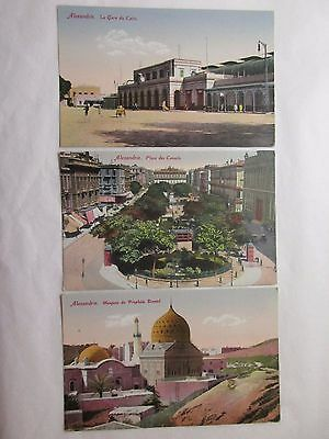 3 old colour postcards relating to alexandrie (unposted)