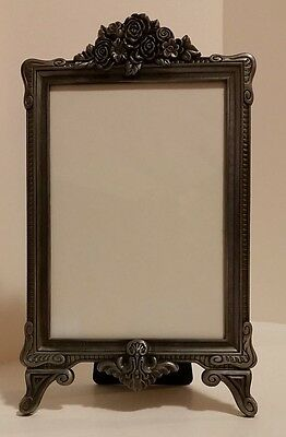 "Metal Picture Photo frame, 5"" x 7"" Art Nouveau Deco, pewter look, easel roses"
