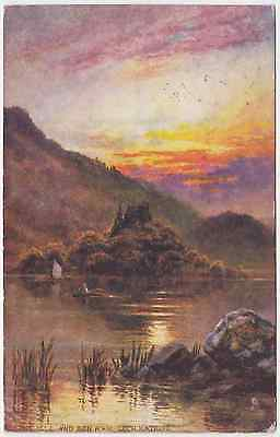 Old postcard of Ellens Isle and Ben A'an Loch Katrine , Sterlingshire