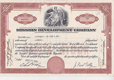 Mission Development Company Share Certificate owned by Francis I Du Pont & Co