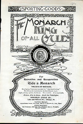 """1895 Monarch Bicycle ad """"King of All Cycles"""" --p-550"""