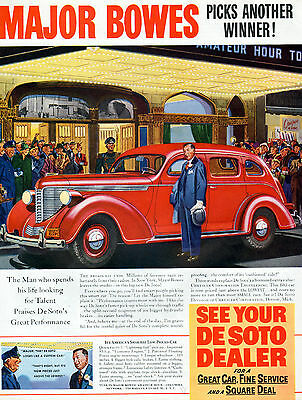 1938 Desoto Car ad   ---Major Bowes , Radio Star Endorses --p-834