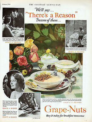 1929 Grape Nuts Ad -Nowhere Does Ad  State The Manufacturer -(P. Co, Inc)--x1063