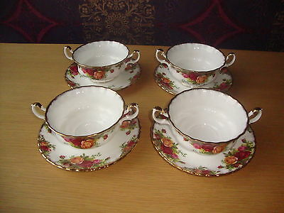 """4 x Royal Albert """"Old Country Roses"""" Soup Coups/Bowls & Saucers"""