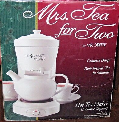 NEW Mrs Tea for Two By Mr Coffee Hot Kettle Electric Tea Maker and Teapot NIB