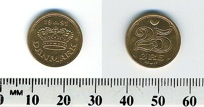 Denmark 1991 - 25 Ore Bronze Coin - Large crown