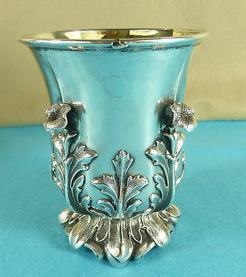 Superb Early Victorian Sterling Silver Beaker Cup High Relief Flower Leaf 1840