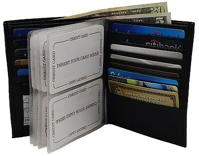 Mens Leather Bifold Hipster Credit Card Inserts ID Window European Wallet