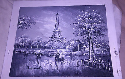 Oil painting on Canvas The Eiffel Tower and Rome watercolour