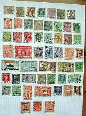 India. Collection of 52 stamps.