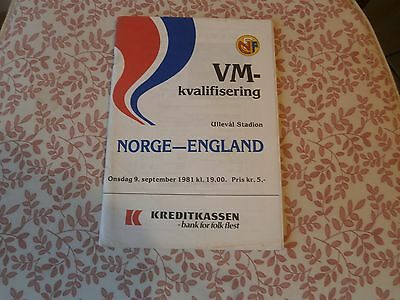 Norge/Norway v England 1981, Not in ENGLISH.