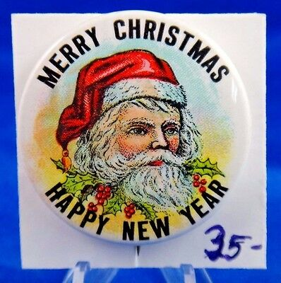 Merry Christmas Happy New Year Santa Claus Pin Pinback Button 1 3/4""