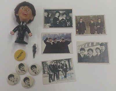 Beatles buttons cards and doll lot