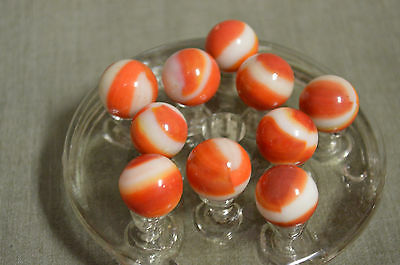 Lot of 10 Vintage Agate Swirl Marbles Orange and White