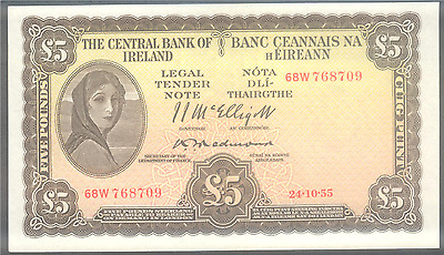 Consecutive 5 pounds Lavery Rep of Ireland 24.10.55 Punt Irland Eire Redmond 1/2