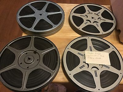 4 Vintage 400ft 8mm Metal Movie Film Reels with film and Canisters