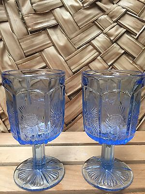 2- Mosser USA Spring Light Blue INVERTED THISTLE & STAR Footed Glasses