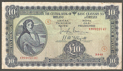 10 pounds Lavery Rep of Ireland 2.3.43 Punt Irland Eire War Code S Rare Date 747