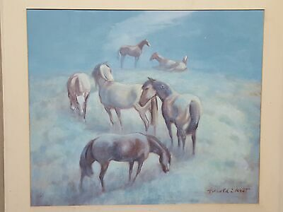 "Vintage c.1950 HAROLD WEST ""Twilight Grazing"" Horse Oil Painting 3378"