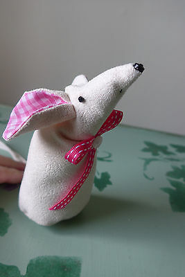 Hand Made Soft Toy Mouse - Stands 5 inches high.