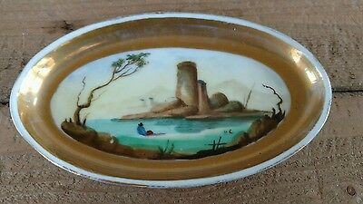 Antique French Paris Porcelain Pin Ring Trinket Dish Tray Hand Painted Castle