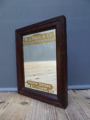 Beautiful Early Antique Vintage Furnishers Advertising Mirror Sign Not Enamel