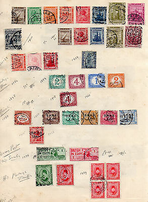 Egypt 2 Pages From Old Album 75 Unchecked Stamps