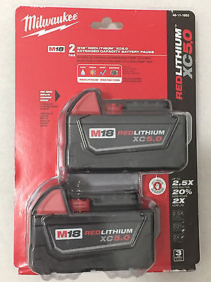 Milwaukee 48-11-1850 18V Red Litium XC 5.0 AH Batteries New Factory Sealed