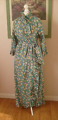 Vintage 60s/70s,Kay Sidney,Long Blue Floral Cotton Dressing Gown/Robe,Size 12
