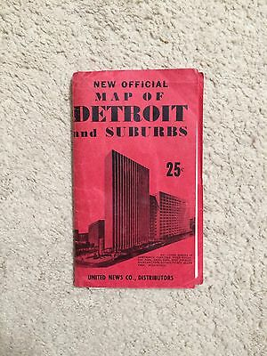 Antique Foldout Style Map Of Detroit Michigan - Us News Company Issue - Very Old