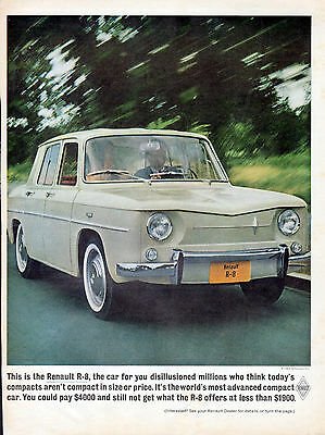 1963 Renalut R-8 Car ad 2 page ad -front & back ---k398