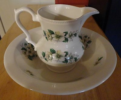 Lord Nelson Pottery - Vintage Child's Size Floral Design Pitcher And Wash Basin