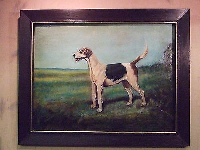 Old  oil painting of an early Quorn pack hunting hound dog in a landscape