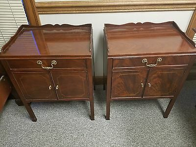 Pair of Signed Baker Mahogany Nighstands Chippendale Style